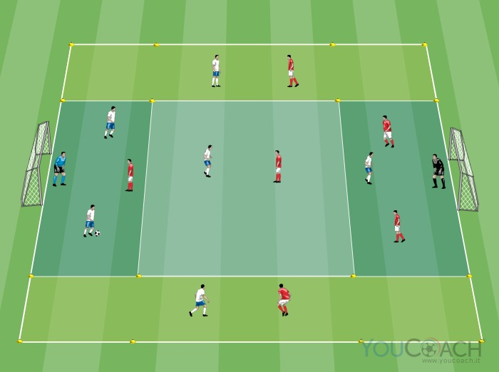 6 versus 6 getting away from markers in width, to cross and to shoot for the goal